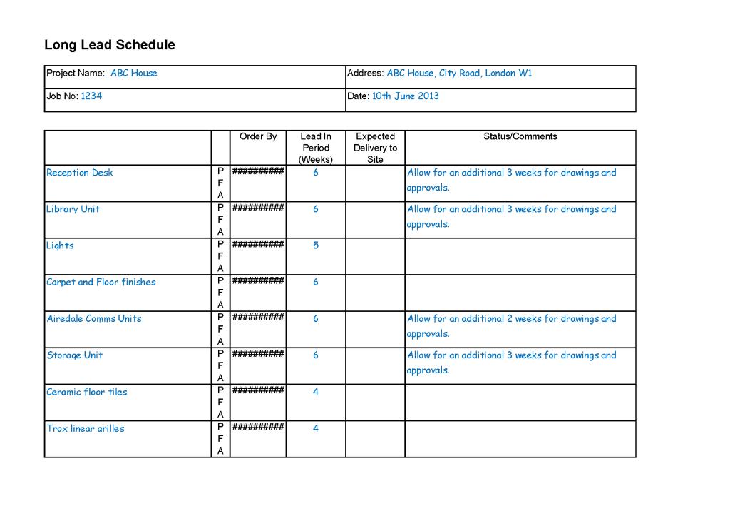 Long Lead Schedule